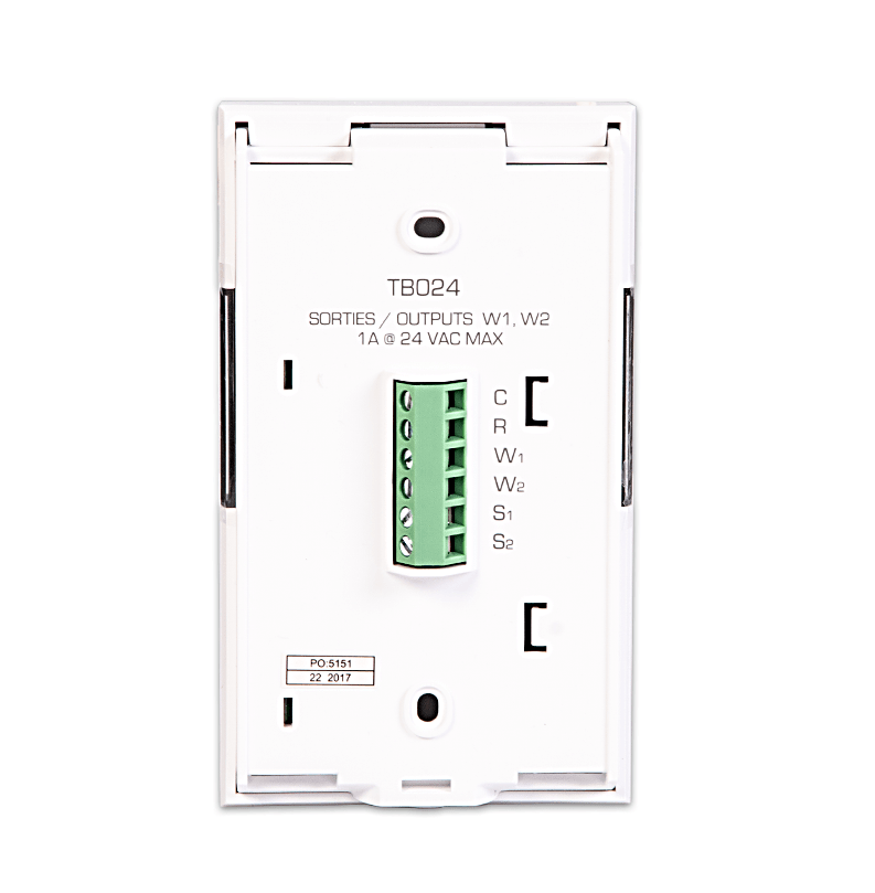 Low voltage thermostat Web programmable - back - Sinope Technologies