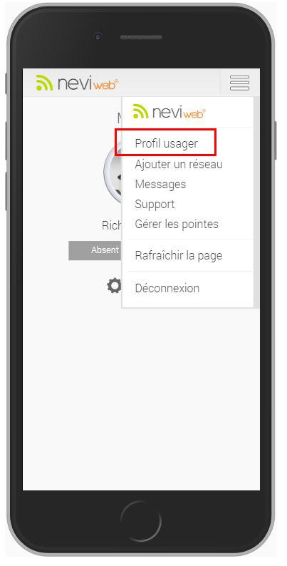 Sélectionnez le Profil usager dans le menu situé en haut à droite