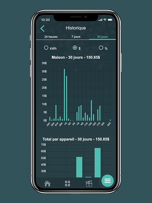 Suivez votre consommation d'énergie quotidienne, hebdomadaire et mensuelle en temps réel grâce aux graphiques de consommation.