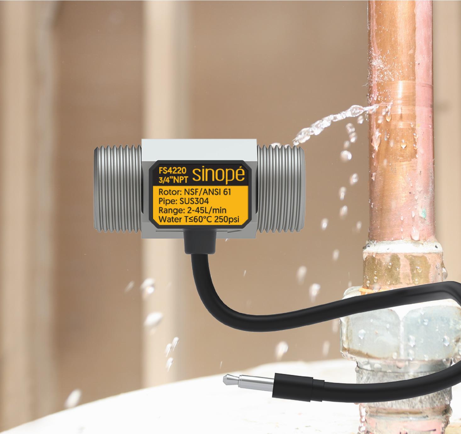 Capteur de débit pour valve d'eau intelligente Sedna par Sinopé