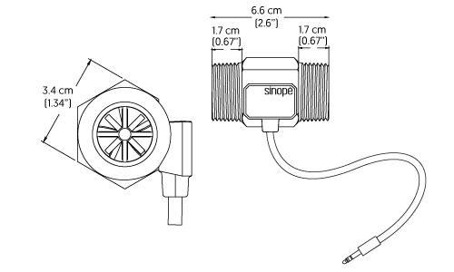 Technical drawing of the FS4221 1 in flow sensor